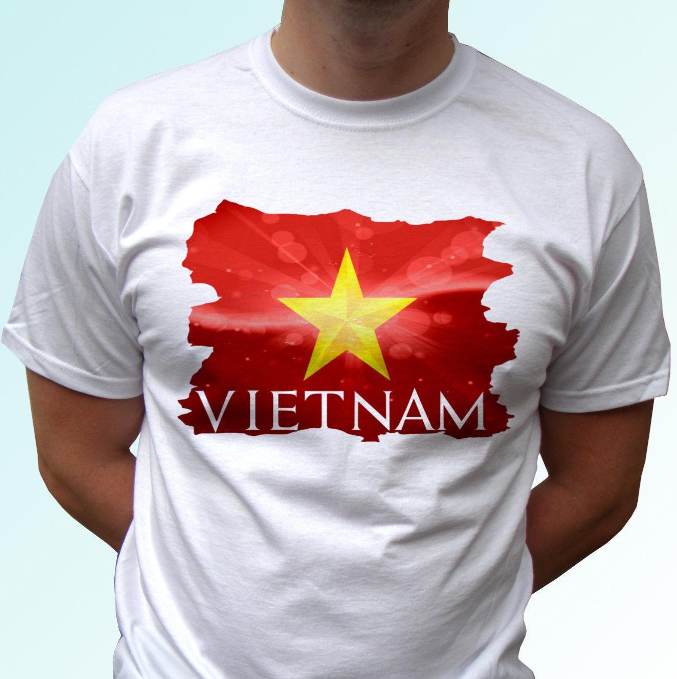 Grosshandel Vietnam Flagge Weisses T Shirt Spitzent Stuck Landdesign