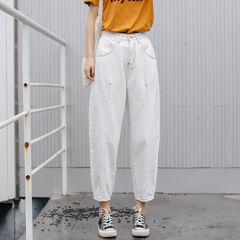8ce8c64cf6 Compre 2019 Mujeres Del Estilo Del Resorte Pantalones Vaqueros Blancos  Pantalón De Cintura Alta Suelta Tipo Pantalones Vaqueros Rectos Pantalones  Para Dama ...