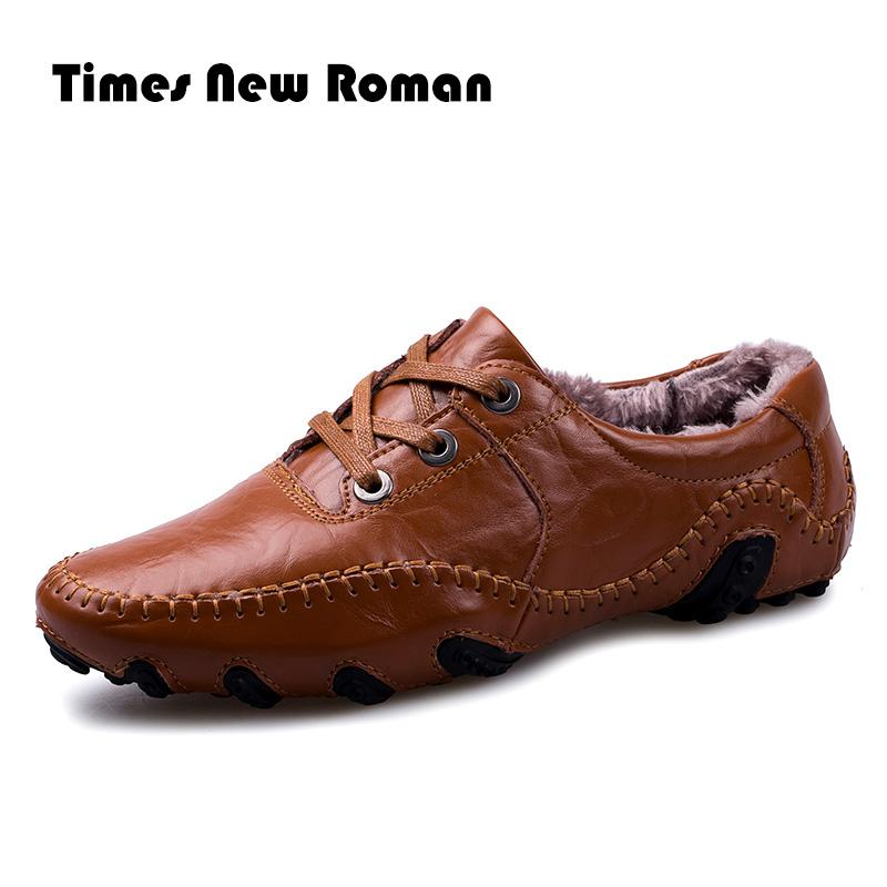 e63929b1dad Times New Roman Winter Men Leather Shoes Casual Men Loafers Flats Shoes  Moccasins Men S Loafers Genuine Leather Male Shoes Comfort Shoes Sneakers  Online ...