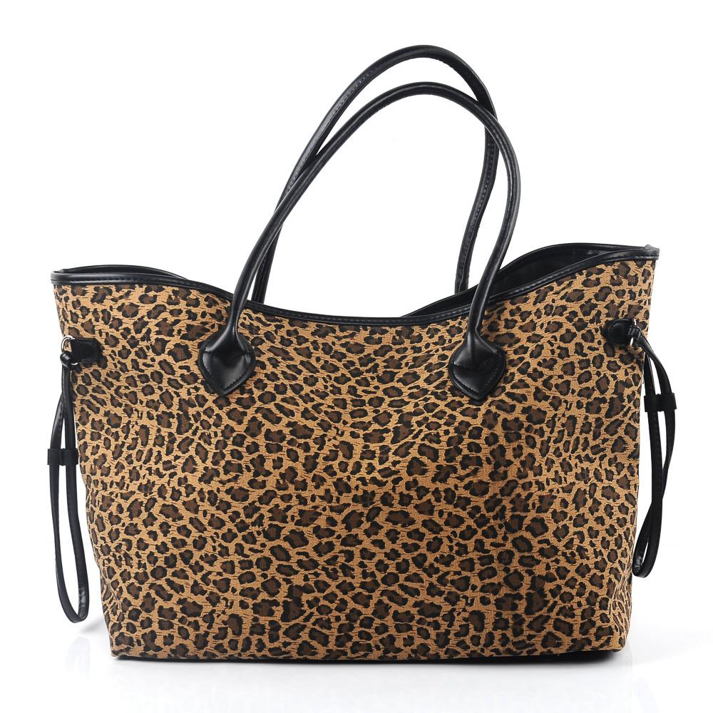 6fe1bb7c5 Compre Grande Capacidade Do Leopardo Tote Atacado Blanks Cheetah Preto Bolsa  De Lona Infinito Corda Bolsa Frete Grátis Saco Do Presente De Casamento ...
