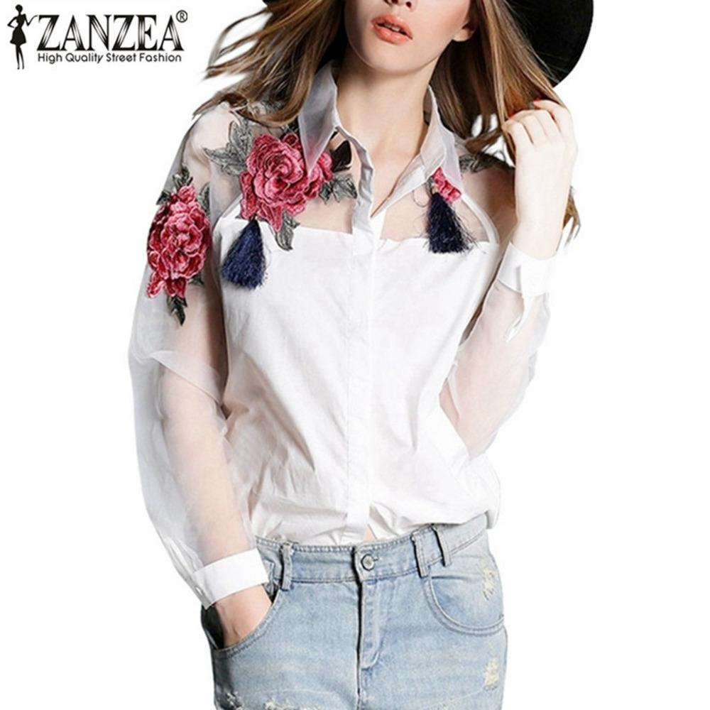 b49a710c574 2019 Zanzea Fashion Blusas 2018 Summer Elegant Women Blouse Flower  Embroidery Vintage Shirts Organza Sleeve Tops Plus Size S 3XL D19011501  From Tai03