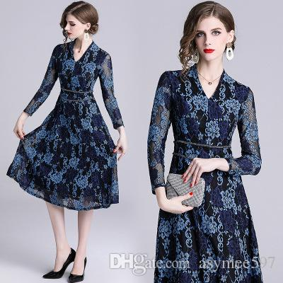 ddc912bce3 2019 Fashionable Women s Lace Dresses,Spring New Runway Dress,Hook Floral  hollow out Midi Skirts,Body Sliming and waist thin Style