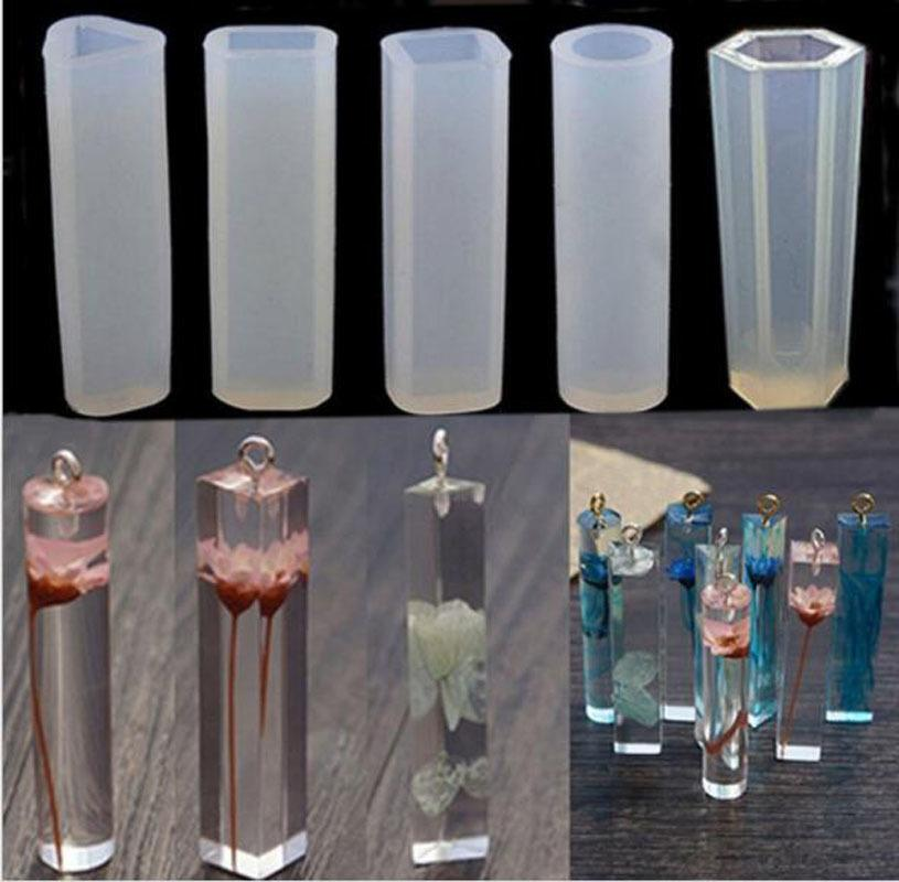 10pcs/Set DIY Pendant Liquid Silicone Resin Jewelry Molds Handmade Decoration Tools Cylinder Trapezoid Crystal Mould