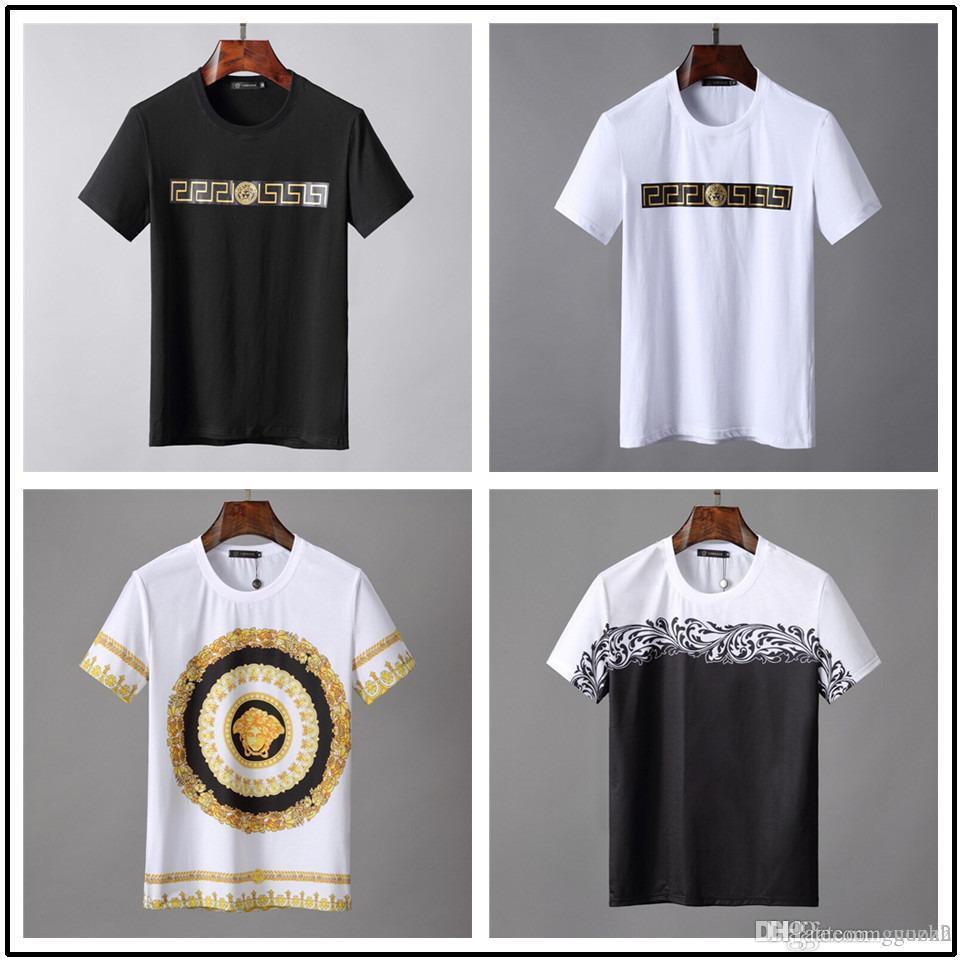 Wholesale plus size New Luxury brands round neck T-shirt Street Short  Sleeve poloshirt Rainbow shirt men Designer mens t shirts
