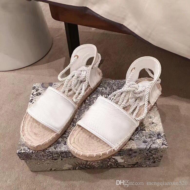 Plate-forme d'été Sandales décontractées Mode Alphabet Chaussures de pêche Chaussures En Cuir Femme Chaussure Corde Corde herbe Sandales Tissées Grande taille 35-42 41