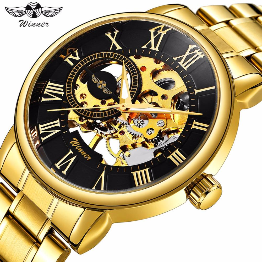 Winner Classic Golden Skeleton Mechanical Watch Men Stainless Steel Strap Top Brand Luxury Man Watch Vip Drop Shipping Wholesale Watches