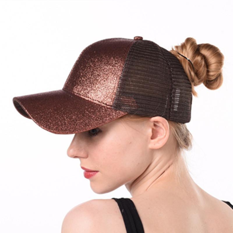 Drop Shipping Glitter Ponytail Baseball Cap Women Snapback Hat ... 7fdc842a5e1e