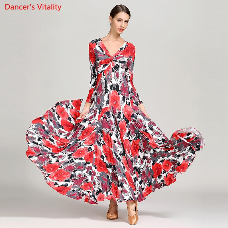 Adulte Femme Ballroom Dance Dress Sexy V-Neck Big Swing Robes Femmes Ballroom Waltz Tango danse Costumes pratiques de performance