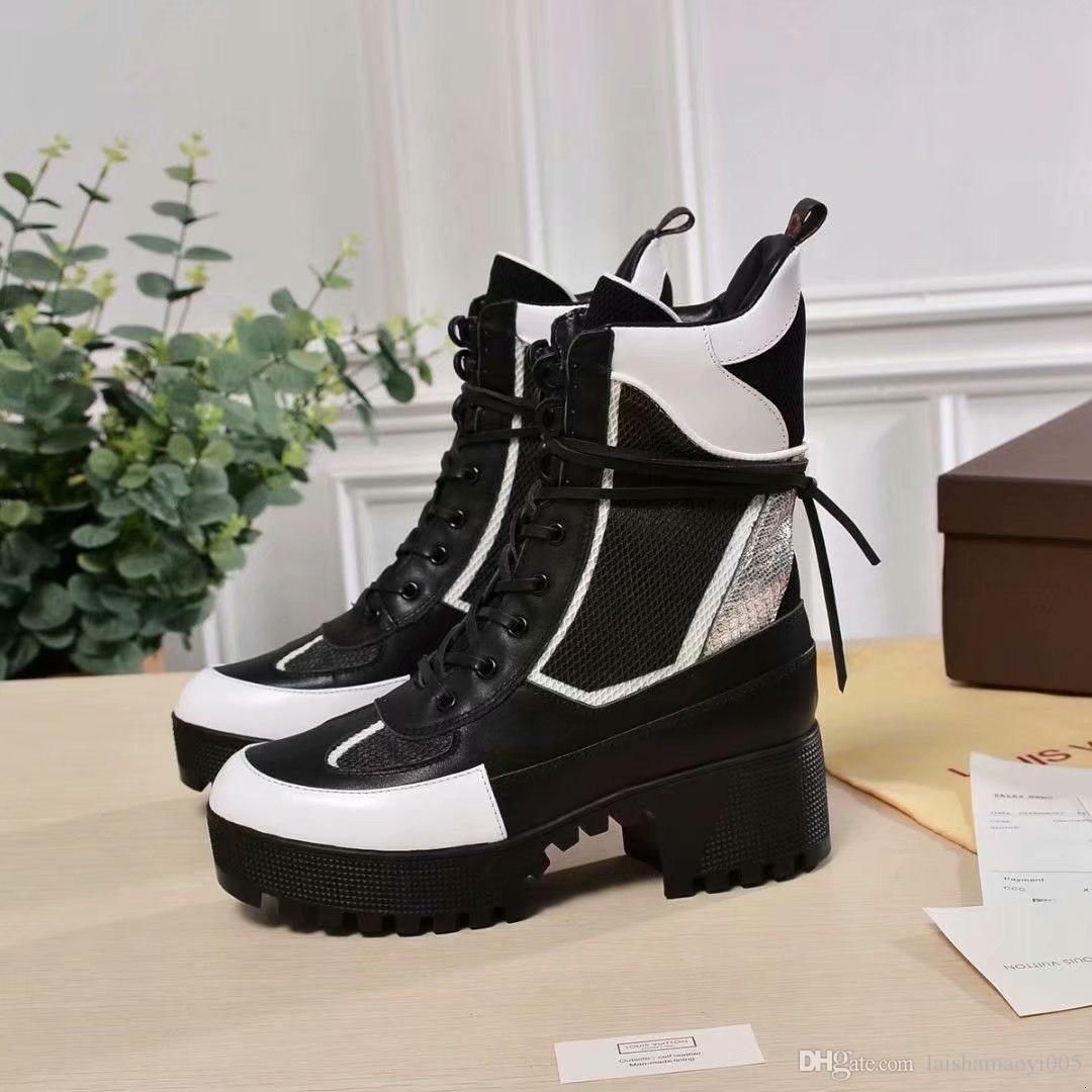 af6baf866da 2018 designer boots Women Desert Boot chunky heel Martin shoes Print  Leather Platform Desert Lace-up Boot 5cm 13 colors with box
