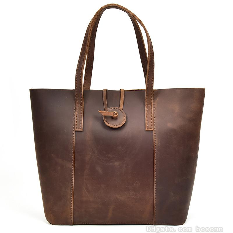 1bc3e18ef1 Vintage Genuine Leather Handbag Women s Tote Bag Work Purse School ...