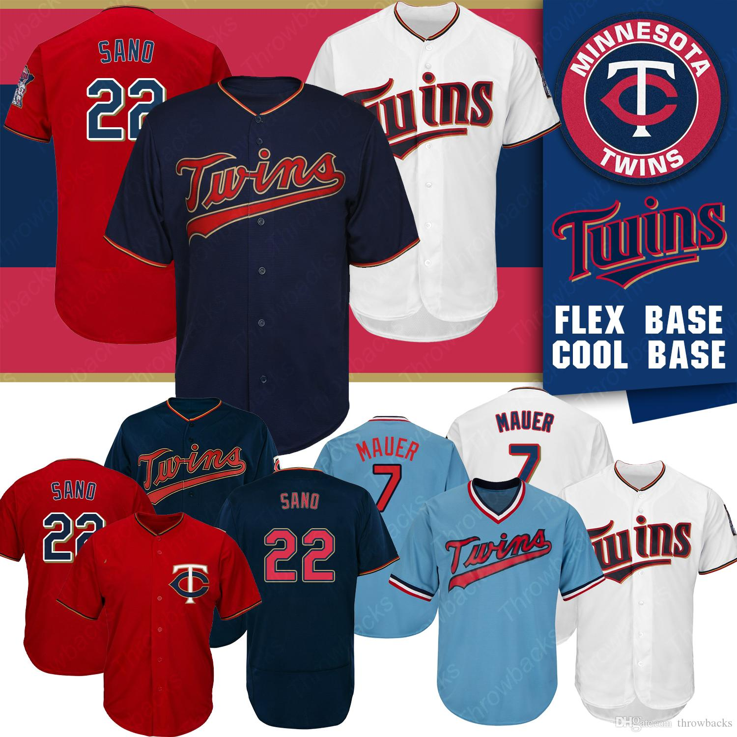 96fc9ed2f10 2019 Minnesota Twins Jersey Miguel Sano Joe Mauer Cool Base Felx Base  Baseball Jersey Color White Red From Throwbacks