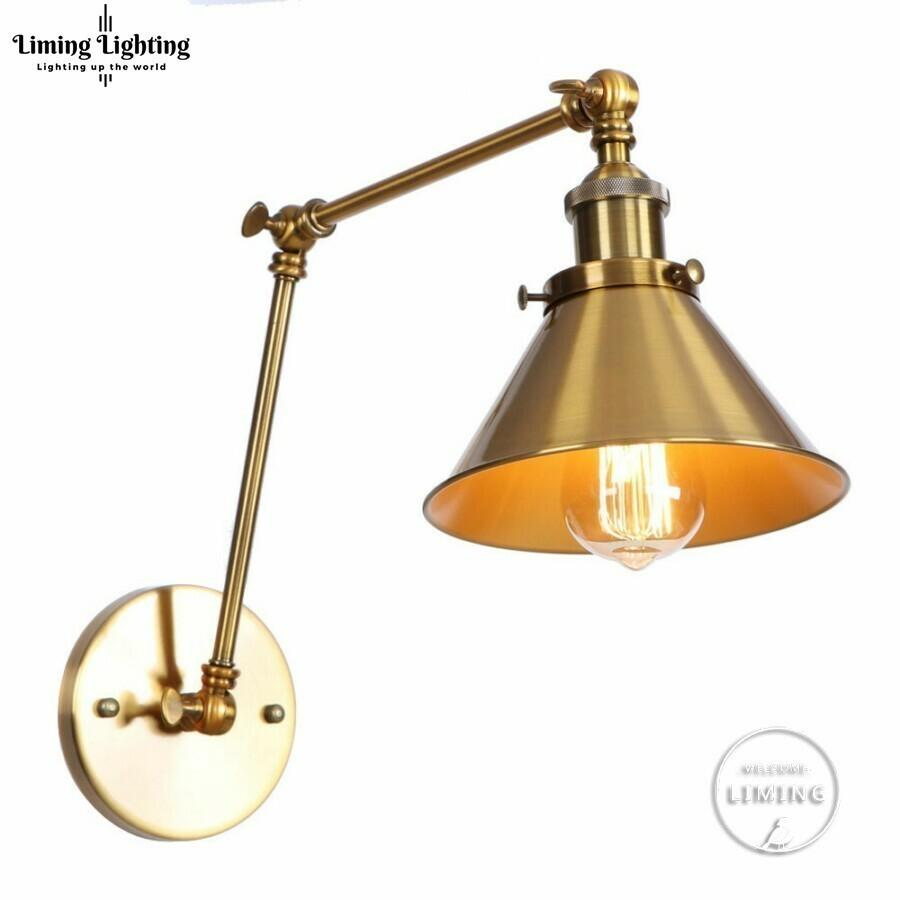 Antique arm vintage wall lamp sconce beside bedroom stair hallway golden style loft industrial wall light fixtures luminaria led nz 2019 from