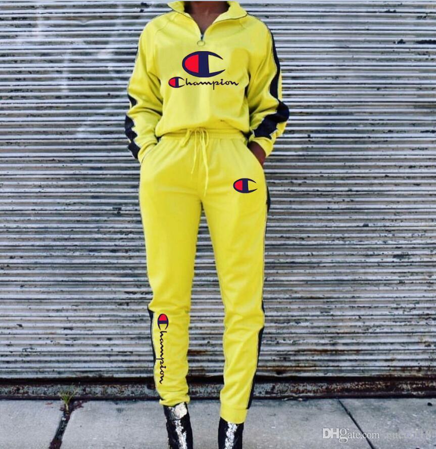 ccc09906c59572 Vender bem Roupa de rua Marca C Vestuário de mulher Impresso Alfabética  Vestuário Marca Designer Desgaste feminino Gola zíper Lazer Roupa