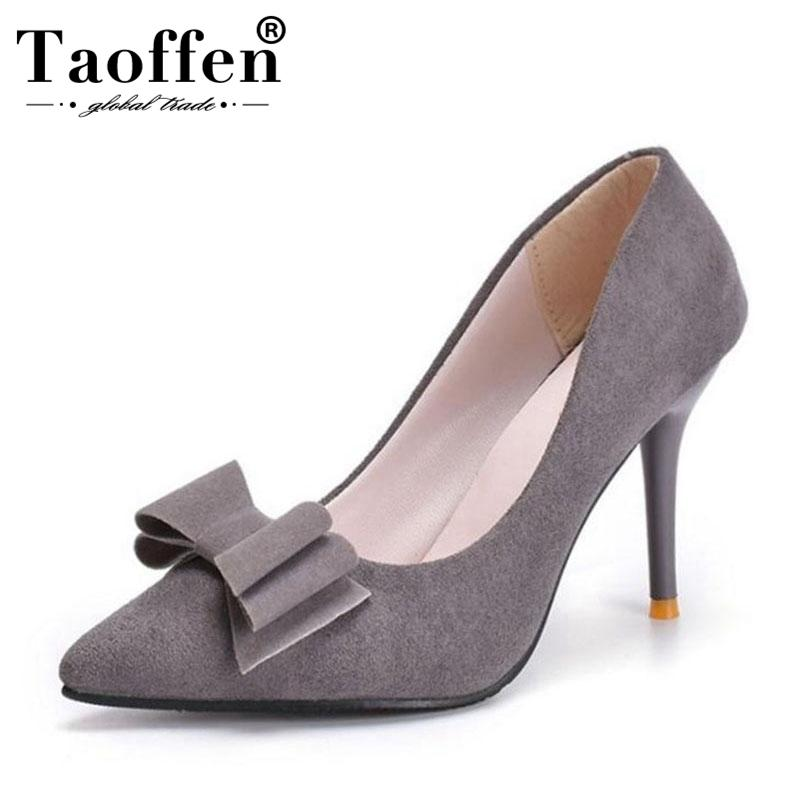 f9199bb72c1 Dress Taoffen Women Wedding Pumps Fashion Bowknot Pointed Toe Thin High  Heel Shoes Women Solid Color Office Dress Shoes Size 34 39 Shoes Uk Mens  Chelsea ...