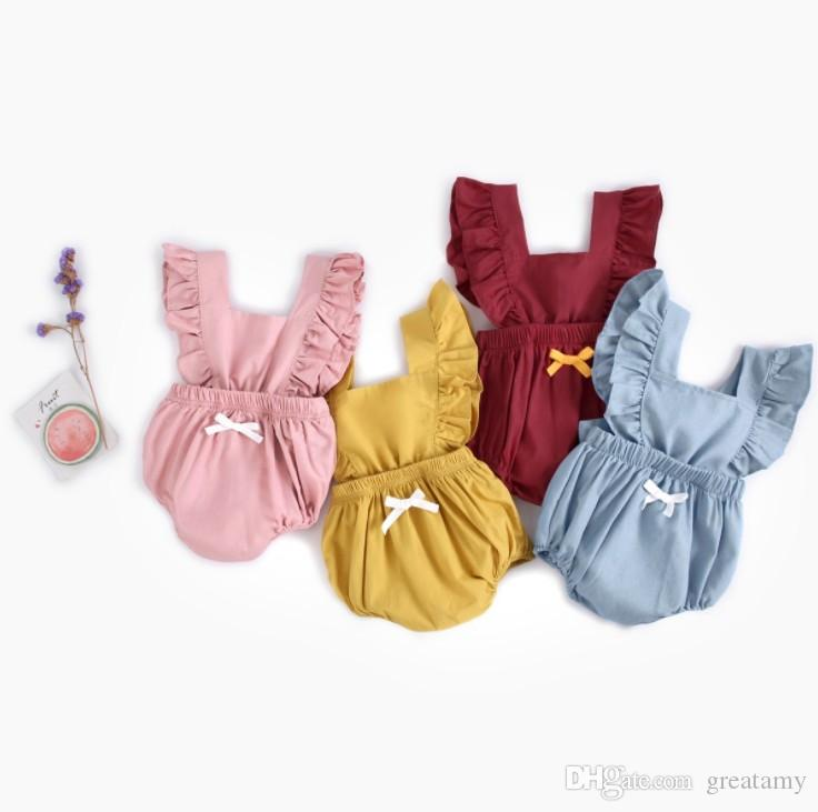INS baby girls lovely rompers cotton denim pure solid color newborn backout one-piece clothes infant toddler jumpersuit