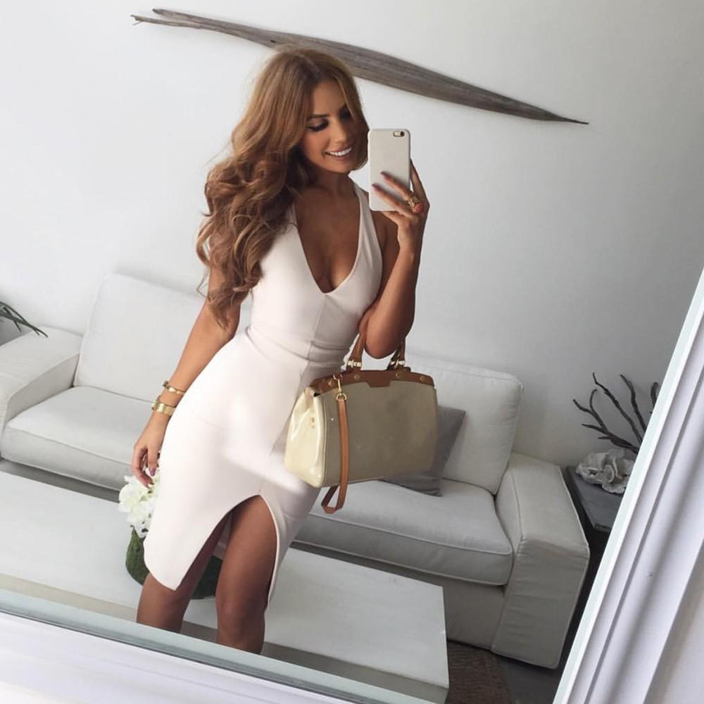 312095c3c84d86 Good Quality Women Sexy Slim Bodycon Sleeveless Club Wear Fashion Solid  Color Tight Casual Evening Party Deep V Neck Mini Dress Cheap Evening Dresses  Cheap ...