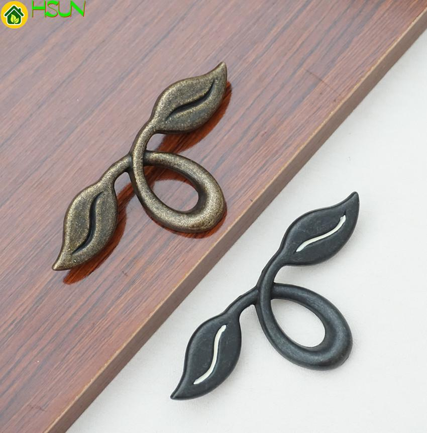 2019 2 Dresser Pull Drawer Pulls Handles Knob Antique Bronze Black Rustic Kitchen Cabinet Knobs Handle Unique Leaf Furniture 50mm From Jmqj66 ... & 2019 2 Dresser Pull Drawer Pulls Handles Knob Antique Bronze Black ...