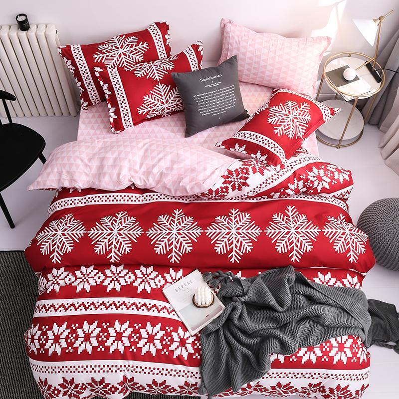 52 Red Christmas Snow Bedding Set Bed Sheet Queen King Size Bed Set Soft Comforter Cover Bedding Sets