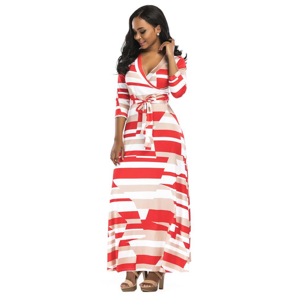 77f509e8f4 Acheter Femmes Long Maxi D'été Robe 2019 Couleur Bloc 3/4 Manches Boho  Beach Dress Printemps Été Soirée Robe De Fête Avec Ceintures Vestidos De  $38.72 Du ...