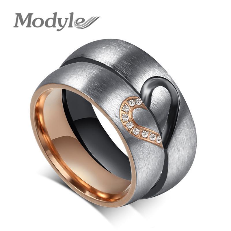 35f759aa2a3d Compre Modyle 2018 Nueva Moda Amor Corazón Anillos De Pareja Para Mujeres  Hombres Compromiso De Boda Anillo CZ Joyería Única Fina A  12.14 Del  Rocketer ...