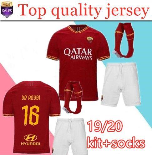 5c64b22bb 2019 2019 2020 AS Roma Home Soccer Jerseys Kit With Socks 18 19 20 ...