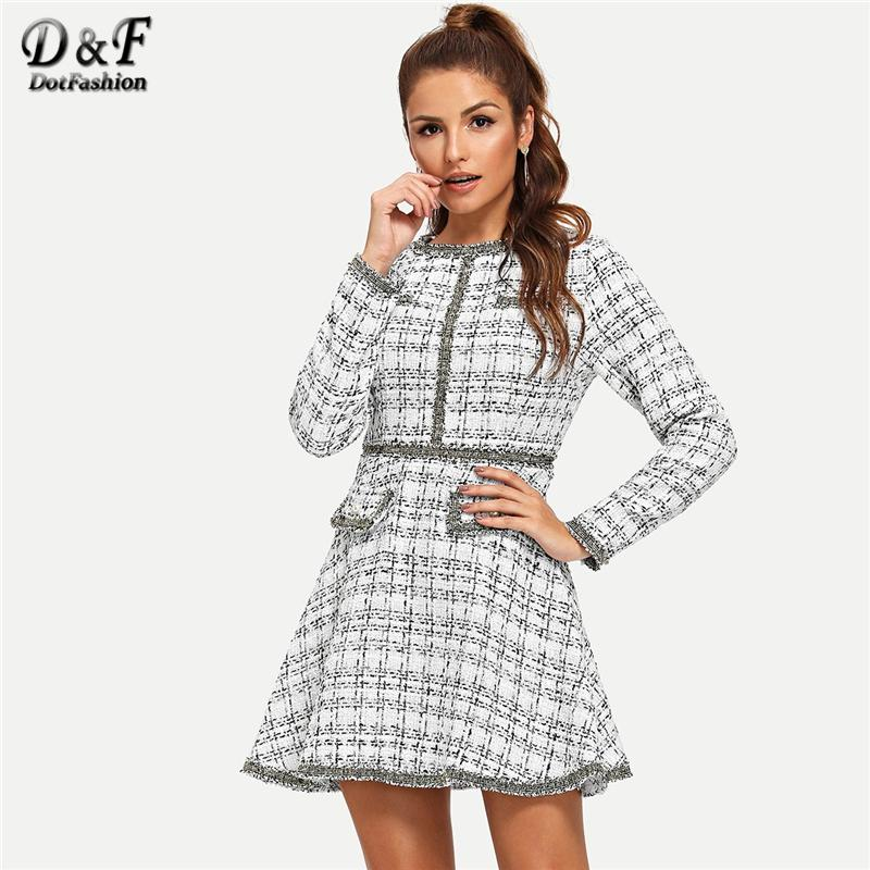 92e2c4d602 Dotfashion White Fringe And Pearl Embellished Tweed Dress Women 2018 Autumn  Elegant Clothing Long Sleeve A Line Short Dress Summer Flower Dress Party  Dress ...