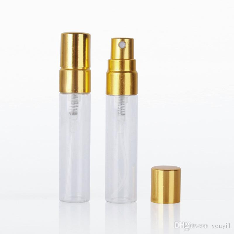 5ML Botella de aerosol de vidrio transparente Vacío claro atomizador de perfume recargable con tapa de plata dorada Muestra portátil Viales de vidrio