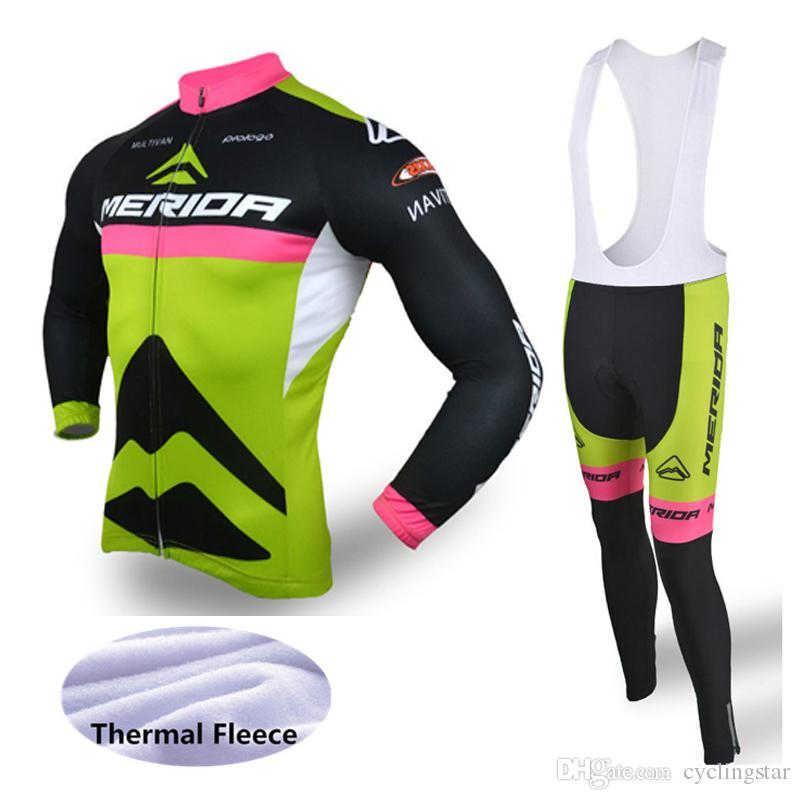 Men Merida Winter Thermal Fleece Cycling Jersey Long Sleeve MTB Bike ... d123b886e