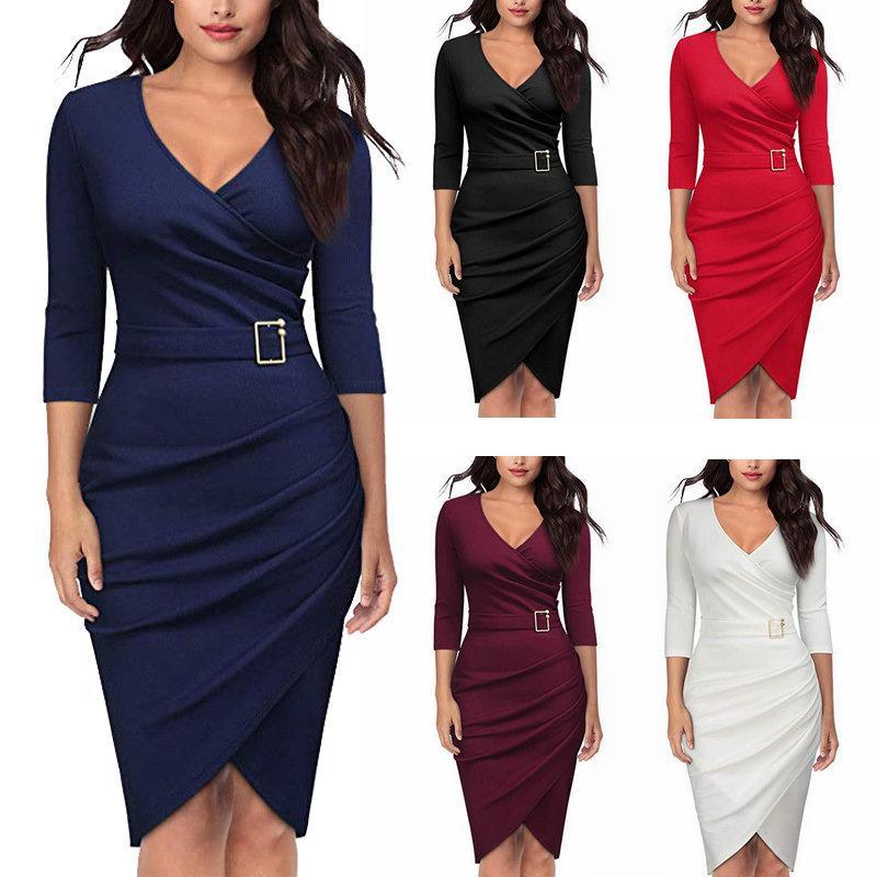 12160507ce2a9 Satın Al Moda V Yaka Bayan Elbise Üç Çeyrek Kollu Akşam Elbise Zarif Seksi  Iş Bayanlar Ofis Elbiseler 2019 İlkbahar Yaz Elbiseler, $16.46 |  DHgate.Com'da
