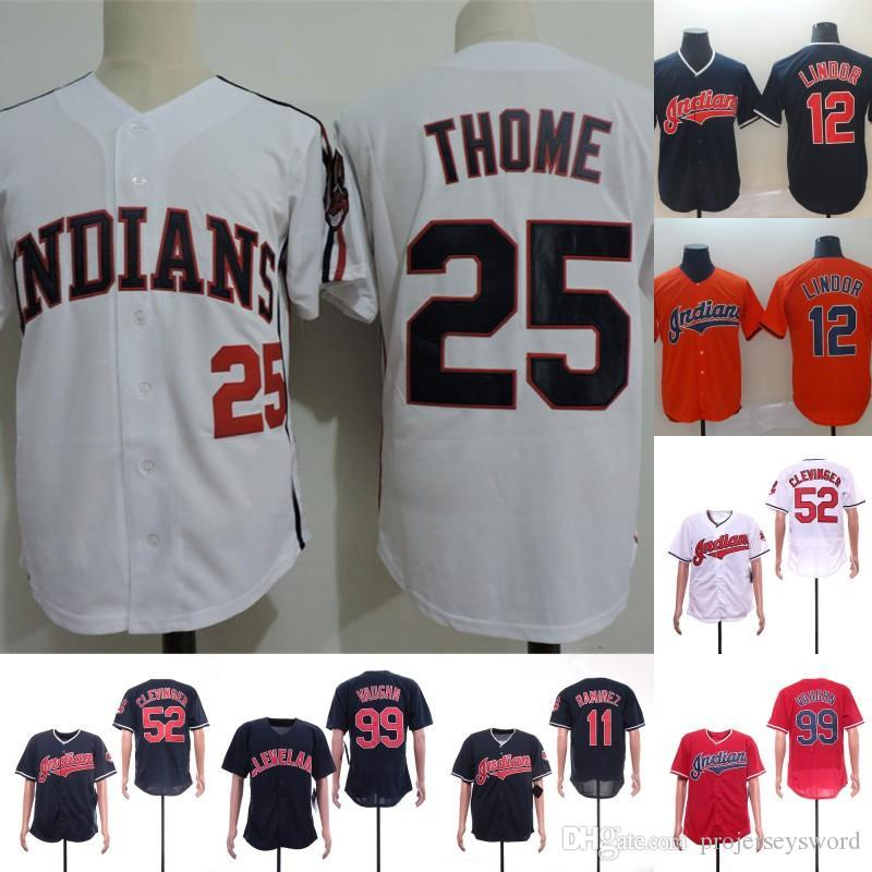 quality design 6f9e5 845ef Mens 25 Jim Thome Indians Jersey 52 Mike Clevinger 11 Jose Ramirez 12  Francisco Lindor 99 Rick Vaughn Cleveland Baseball Jerseys Cheap