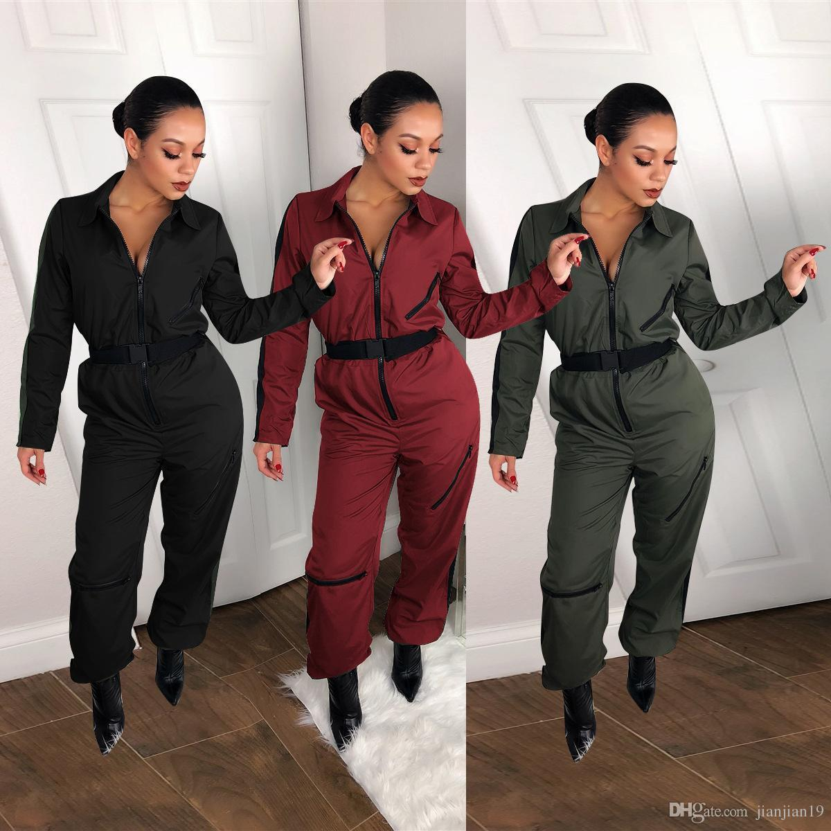 e23ab678361c 2019 T3298H European And American Women S Explosions Urban Fashion Women S  Zipper High End Three Color Jumpsuit Comfortable Female From Tang6607