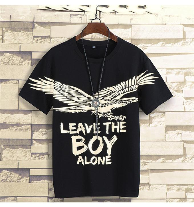 Hot Stamping Gold Eagle Mens Tshirts Boy Print Casual O Neck Short Sleeve Mens Tops Teenager Tees