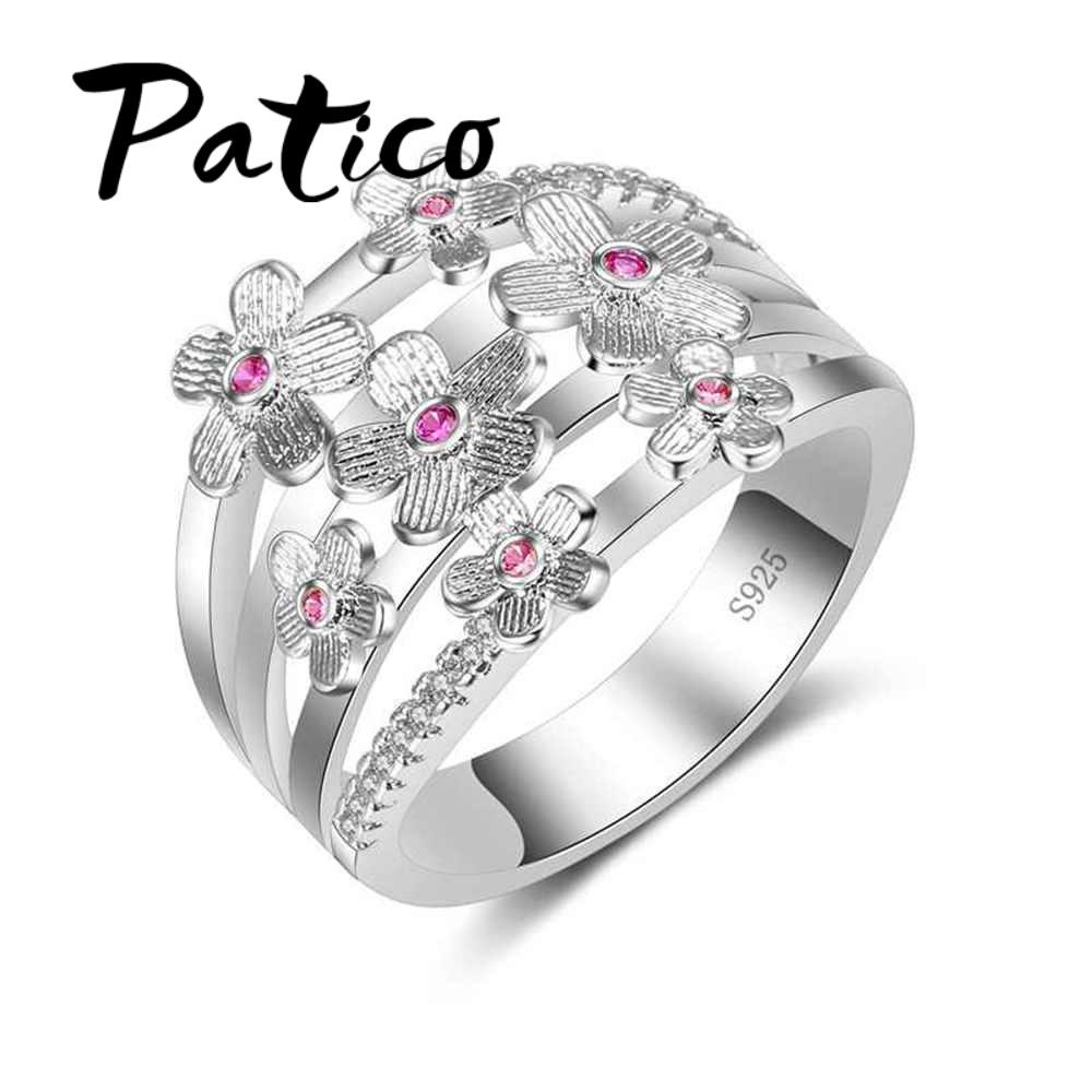 a6994f96417d34 PATICO High Quality Elegance 925 Sterling Silver Wedding Bands Rings Pink  Sakura Flower Jewelry Gifts For Women Anniversary Silver Rings Black  Diamonds From ...