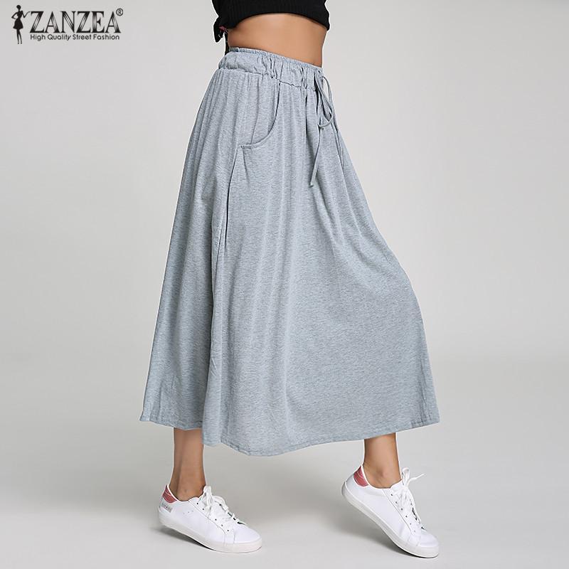 863f2e12fcabb2 2019 Zanzea 2019 Summer Women Long Skirts Cotton Swing Vintage High ...