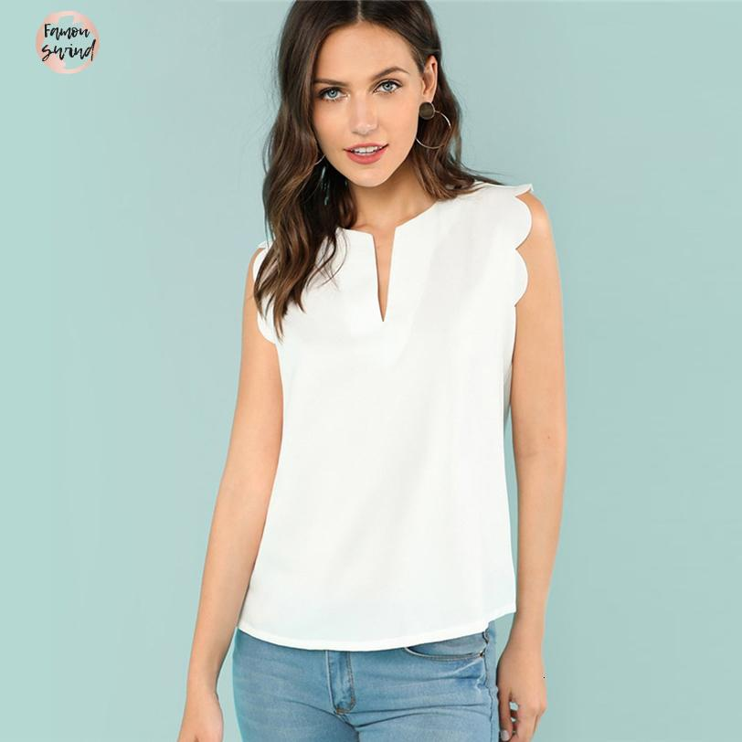 Sleeveless V Neck Blouse Scallop Casual Summer Top Regular Fit Elegant Beige Solid Shirt For Women Trim Shell
