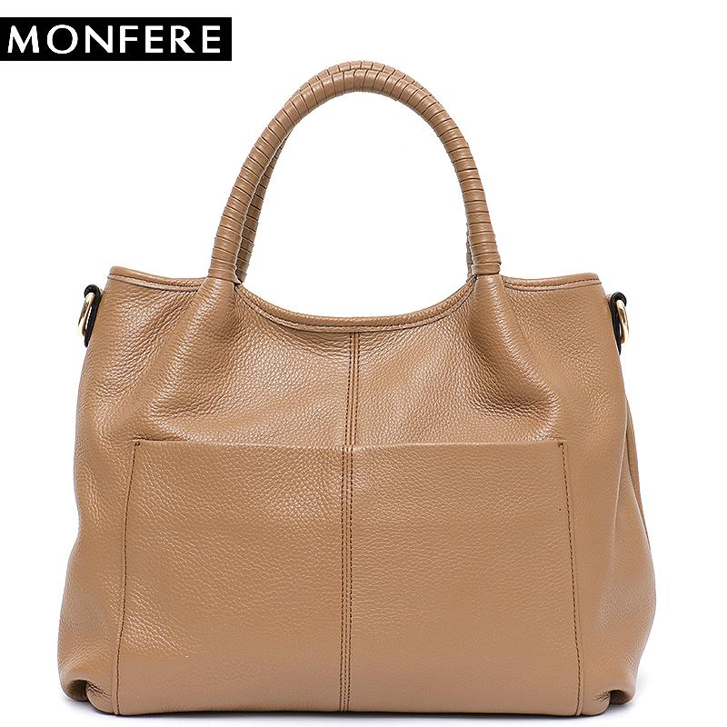 77c54cde4f91 MONFERE Genuine Cow Leather Top-handle Tote Bags for Women Soft Luxury  Cowhide Messenger Bags Female Front Pockets Shoulder Bag
