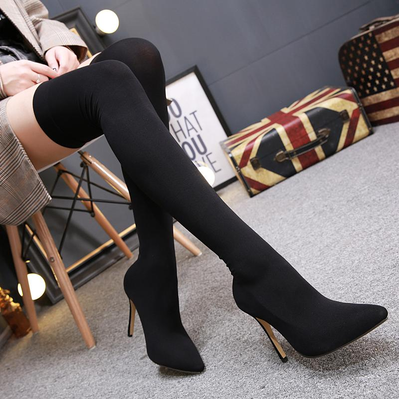 8b9895fb10d 2018 Size 40 Women Sexy Over The Knee High Boots Female Silk Long Sock  Dress Stretch Boots Ladies 11cm High Heels Satin Shoes Mens Dress Boots  Green Boots ...