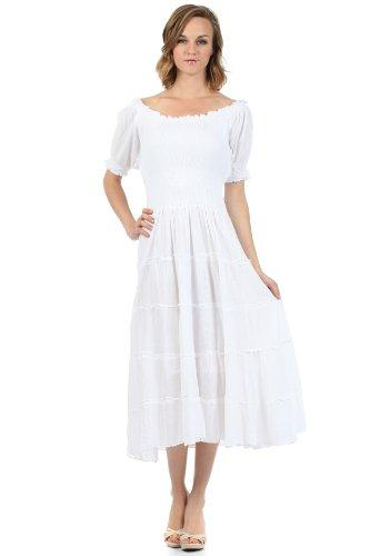 f3680ddb383b Sakkas Cotton Crepe Smocked Peasant Gypsy Boho Renaissance Mid Length Dress  White Dress For Teens Red And Black Dresses For Juniors From Baldwing
