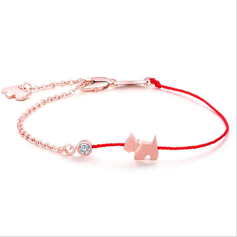 1pc Crystal Charm Bracelets for Women Thin Red Thread String Rope Fashion Lovely Dog Bracelet Bangles K Letter Jewelry bileklik