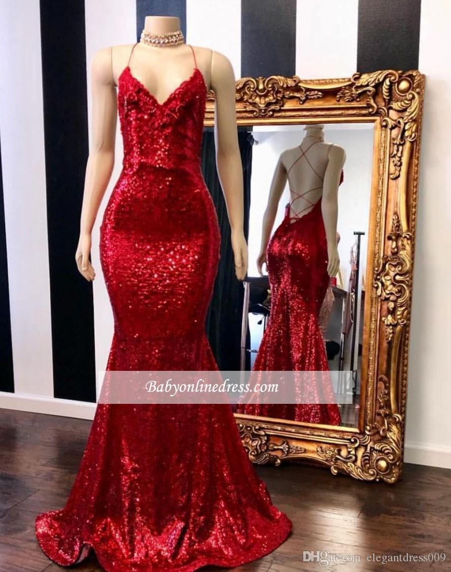 97a040e0 2019 New Bright Red Mermaid Prom Dresses Halter Neck Sequined Bling Bling  Floor Length Formal Dresses Evening Gowns Vestido De Novia Prom Dress Sale  Prom ...