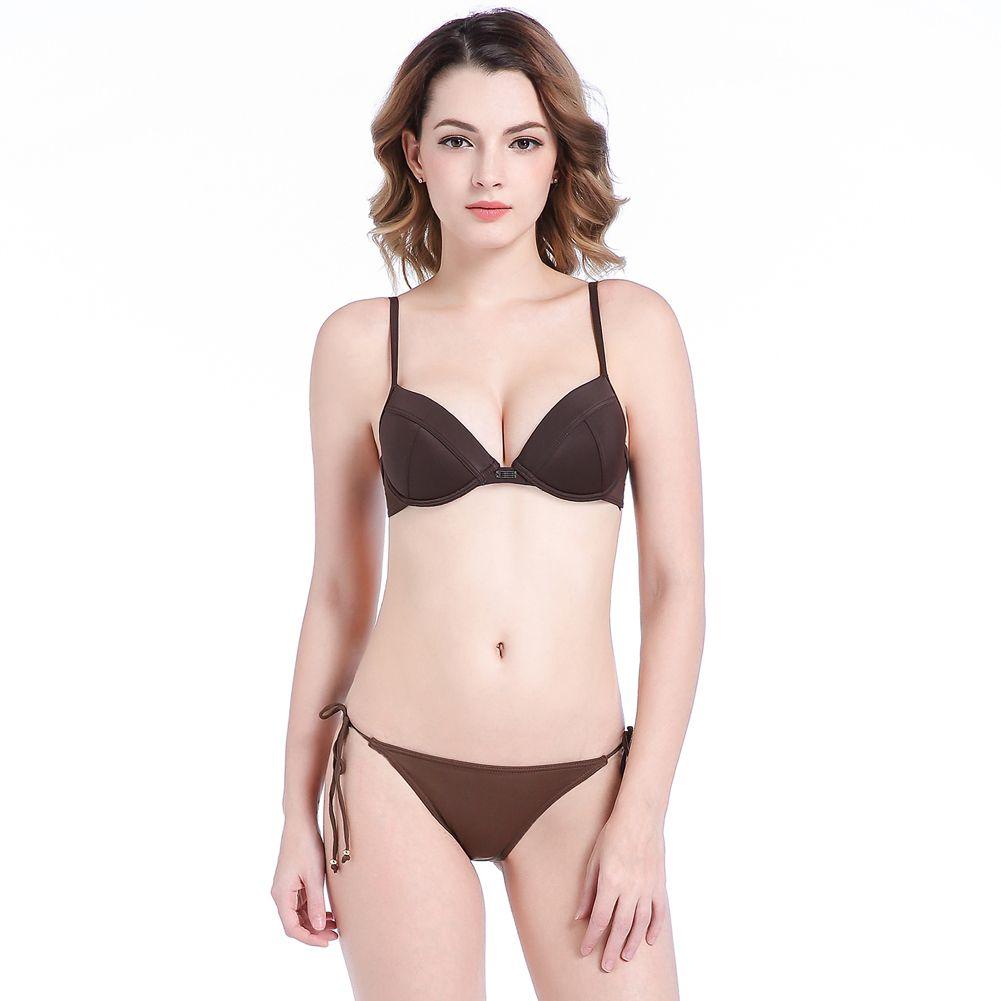bc825e5ddb00 2019 Lady Swim Panty Braguitas completamente forradas Bikini Sujetador  Correas de hombro ajustables Swim Top con aros Doble capa Relleno Push Up  ...