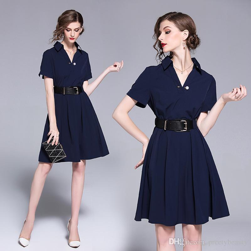 dbc4404eee Compre Vestidos Formales De Verano Moda Para Mujer OL Trabajo De Carrera Vestido  De Solapa Cuello Delgado Vestido Plisado De Cintura Alta A  79.1 Del ...