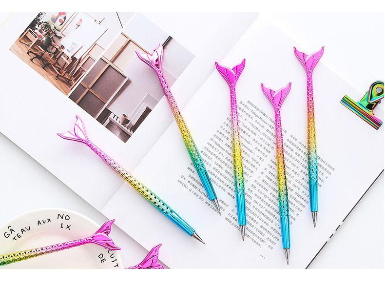0.5mm Creative Colorful Mermaid Ball Pen Ballpoint Fish Tail School Students Office Supply Gel Pen Free Shipping