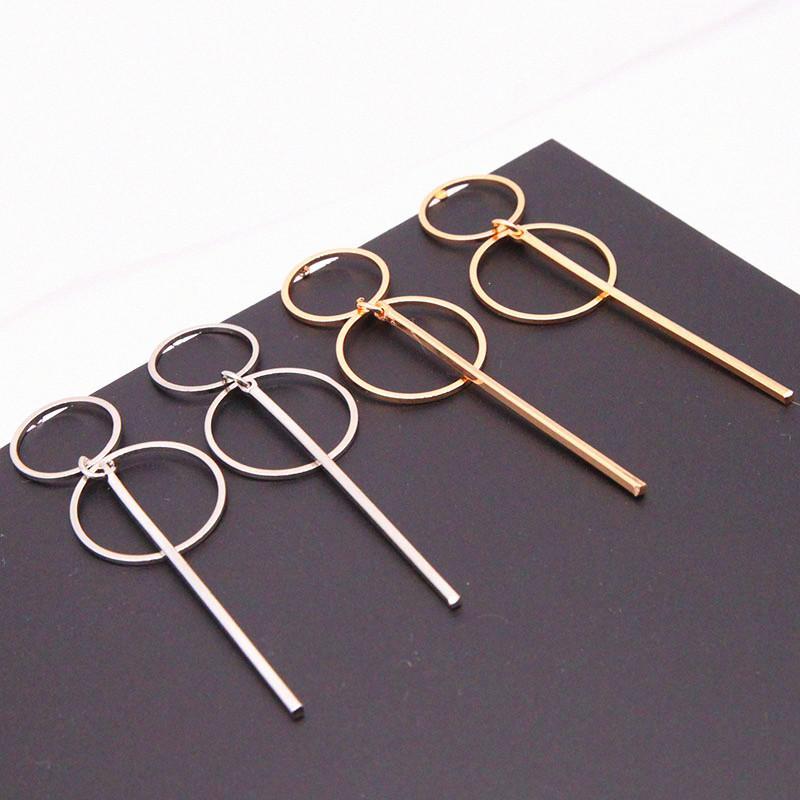 Il nuovo modo elegante geometrica rotondi del cerchio degli orecchini del cerchio doppio orecchini cerchio orecchini di modo per le donne regalo E0204 Exquisite
