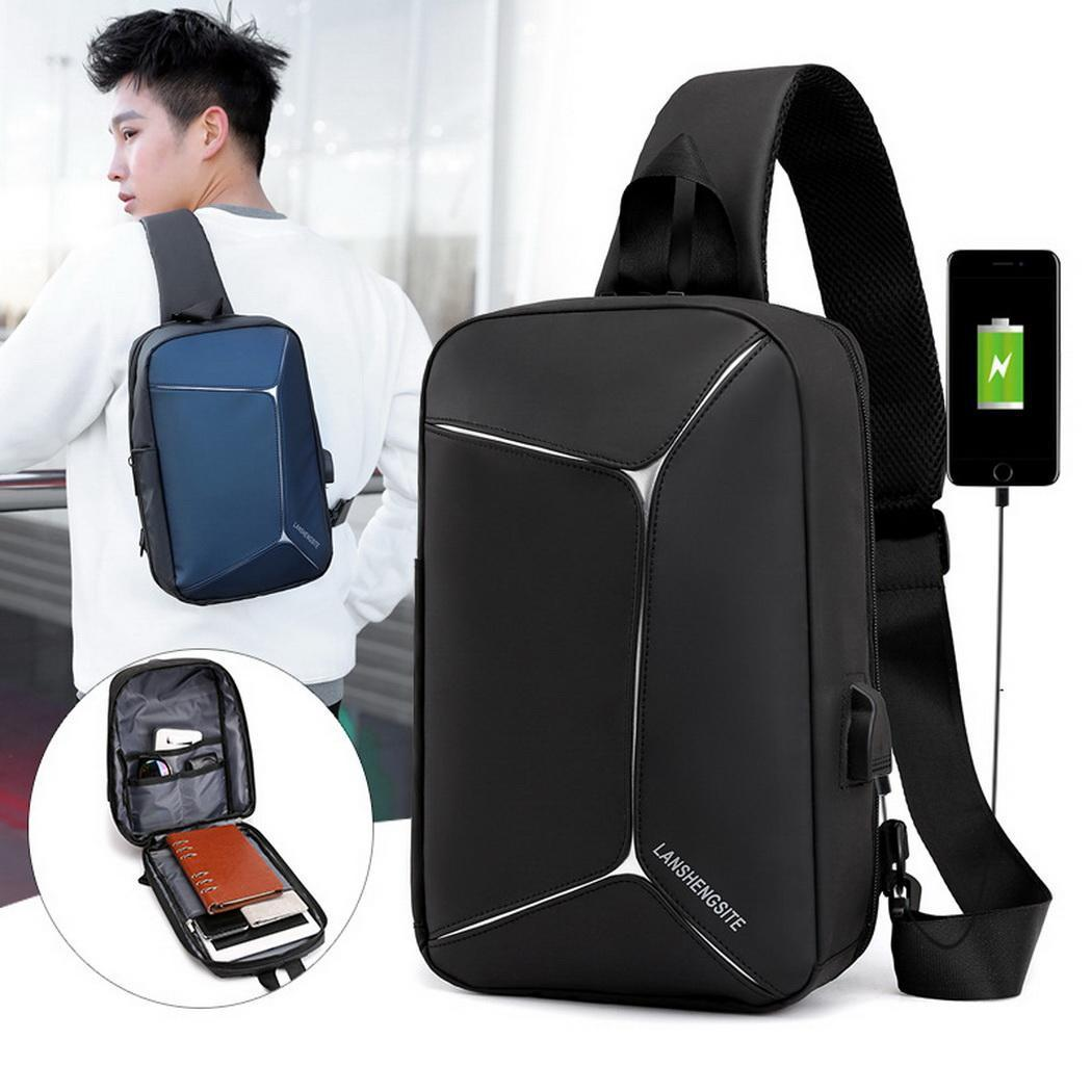 Fashion Men Casual Adjustable Breathable Wear Resistant USB Shoulder Bag Chest Bag Fashion Clothing, Shoes & Accessories