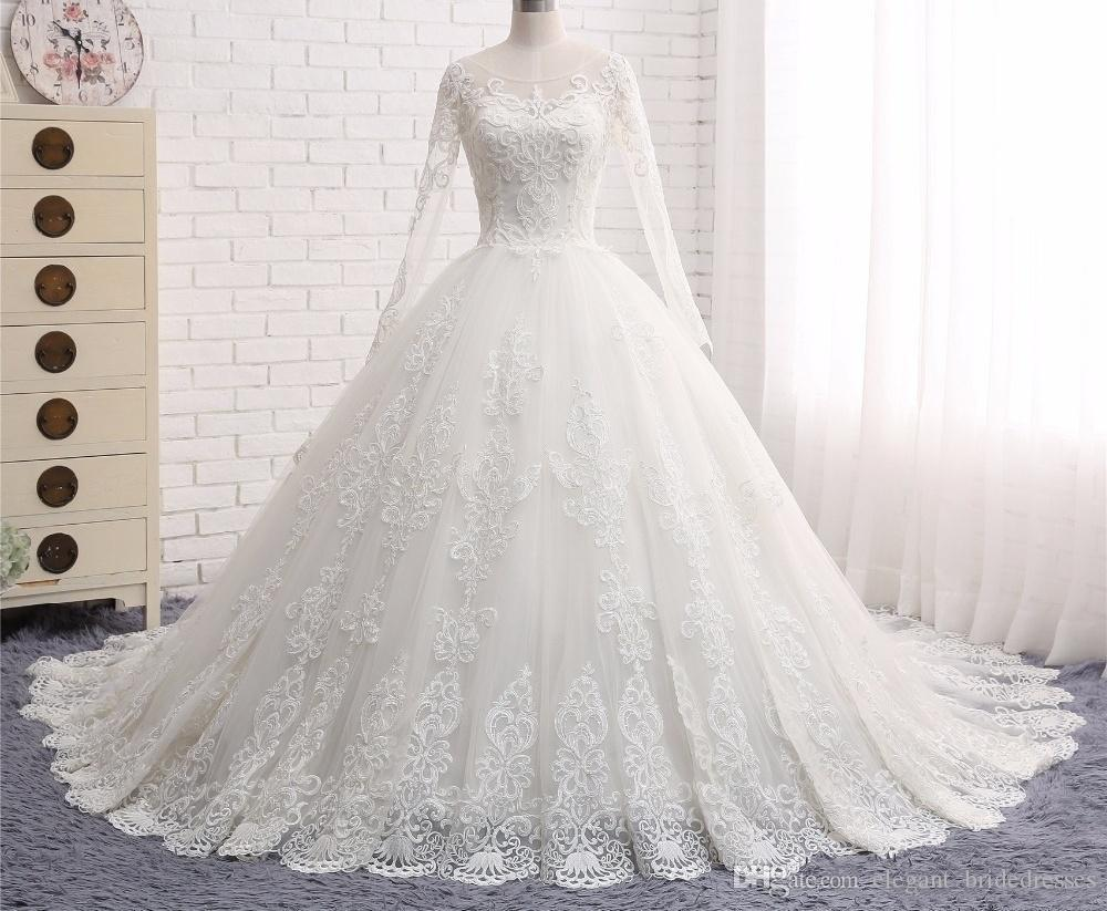 Vintage Princess Ball Gown Wedding Dresses Vestido de Noiva 2019 Scalloped Long Sleeve Lace Appliques Tulle Bridal Gown Robe de Mariee
