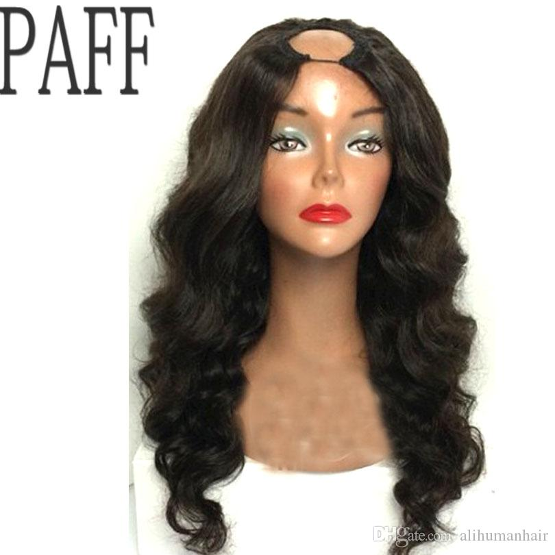 PAFF Body Wave Human hair U Part Wig Glueless Remy Hair Natural Black Color1*4inch Openning Middle Part Wig With Baby Hair