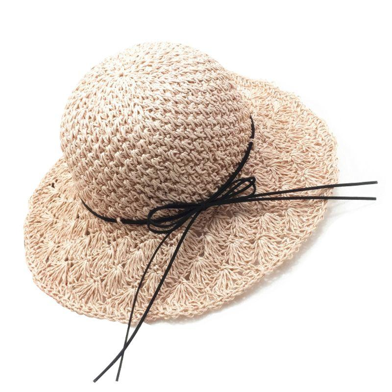 Women Girls Handmade Crochet Weave Foldable Beach Straw Sun Hat Floppy Wide Brim Bowknot Lacing UV Protection Summer Bucket Cap