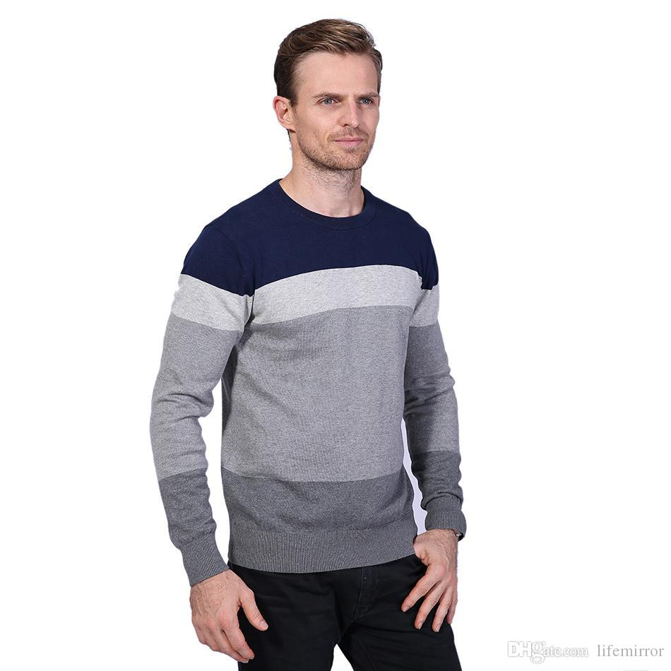 2017 New Brand Sweaters Men Fashion Style Autumn Winter Patchwork ... fd8a55d14