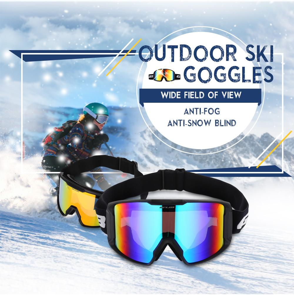 a9f2b976b026 Ski Goggles Double Layers UV400 Anti-fog TPU Frame Eyeglasses Big ...